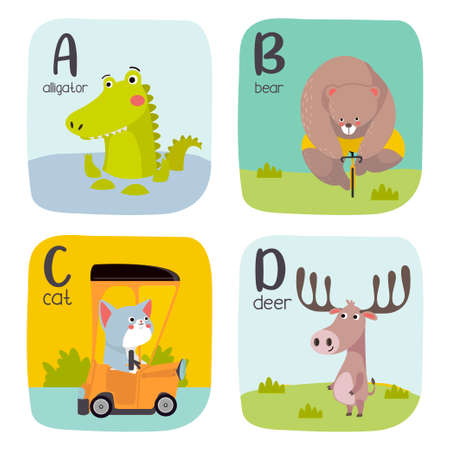 Alphabet printable flashcards vector collection with letter A to D. Cute vector Zoo alphabet with animals in cartoon style. 向量圖像