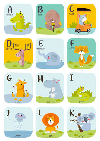 Cute Animal alphabet Vector illustration. Alphabet printable flashcards vector collection with letter a to k.