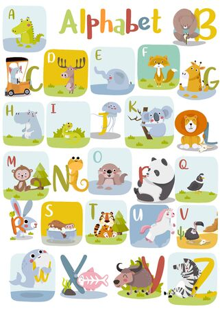 Animal alphabet graphic A to Z. Cute vector Zoo alphabet with animals in cartoon style.