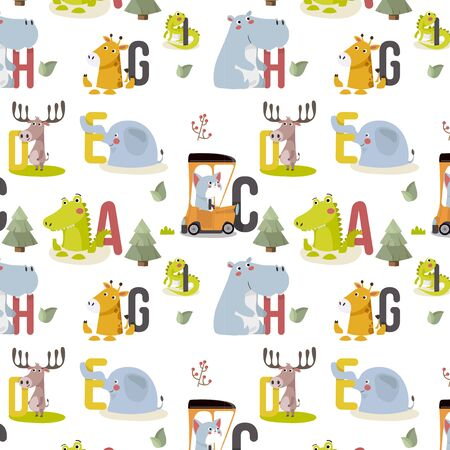 Seamless pattern with various cute and funny cartoon zoo animals on background elephant, giraffe, cat, deer, iguana, hippopotamus. Colorful vector illustration for fabric print,