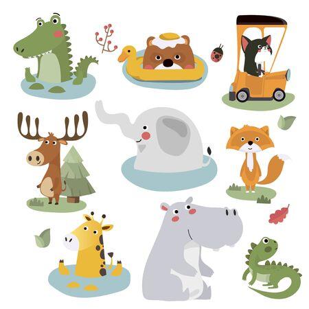 Cute Animal alphabet Vector illustration