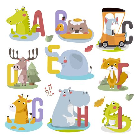 Animal alphabet graphic A to I. Cute vector Zoo alphabet with animals in cartoon style. Vettoriali