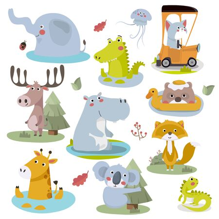 Cute Animal Vector illustration.Fun zoo. Illustration of cute alligator, crocodile, elephant, jellyfish, cat, deer, hippopotamus, bear, giraffe, fox, koala, iguana.