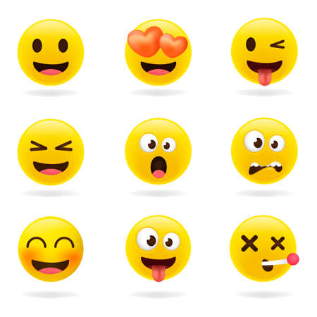 Cartoon emoji collection. Set of emoticons with different mood. 3d style vector illustration isolated on white background.