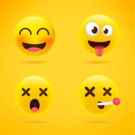 Set of Minimal Cute Emoticons on yellow Background . Isolated Vector Illustration