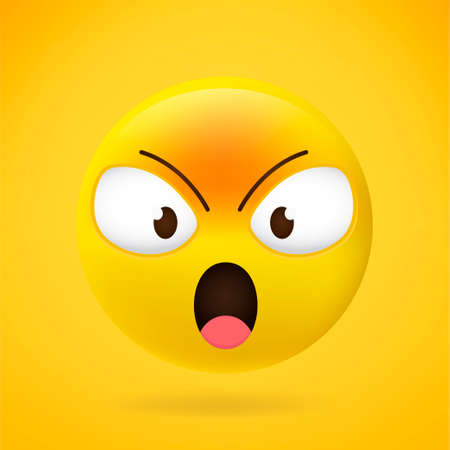 Emoji angry face vector isolated on yellow background. Emoji angry icon for web site, app, 3d. Vector illustration 向量圖像