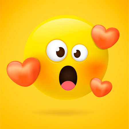 Emoticons. Emoji. Loving emoji - emoticon with red hearts. Feeling in love emoji with open mouth. Cartoon emoticons with love. 向量圖像