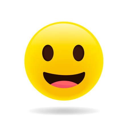 smiling emoji with open mouth. Vector happy face. Realistic yellow emoticon in front of a white background, vector illustration