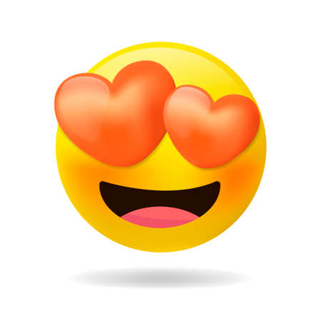 Loving eyes emoji - emoticon with eyes of red hearts. Feeling in love emoji with open mouth. Cartoon emoticons with love on Valentine's Day.