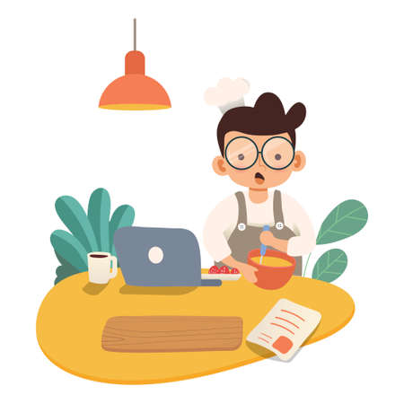 people cooking on kitchen table set vector flat illustration. Happy young man cooking food on isolated white background. Modern flat cartoon character cooking for healthy meal preparation concept.  イラスト・ベクター素材