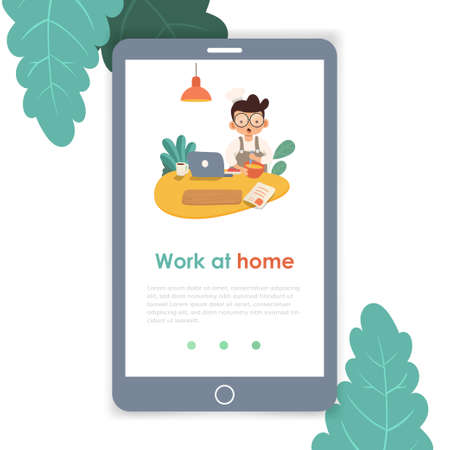 Work at home mobile template, web page and landing page design for website development. template for landing page. Happy young man cooking food on isolated white background.