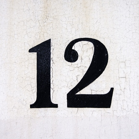 number 12: hand painted number 12 on a crackled background