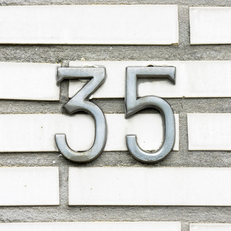 thirty five: steel hoouse number thirty five consistant of two separate numbers
