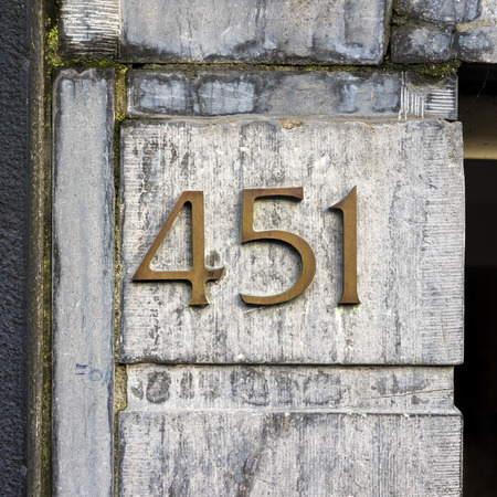 cast metal type: bronze house number four hundred and fifty one