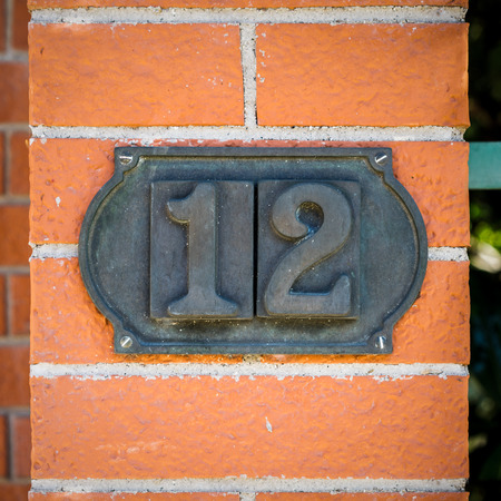 Bronze house number twelve.
