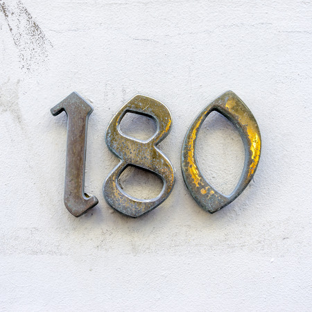 cast metal type: Bronze house number one hundred and eighty