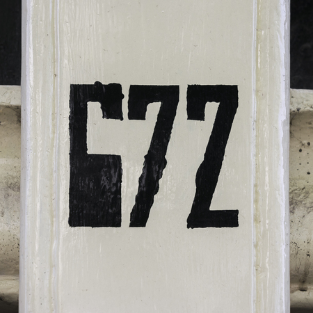 seventy two: House number six hundred and seventy two, hand painted