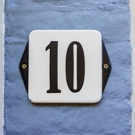 number ten: Enameled house number ten