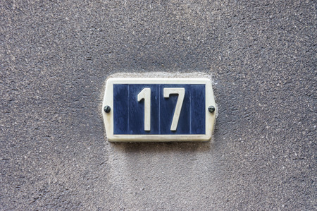 Ordinal: House number seventeen (17)