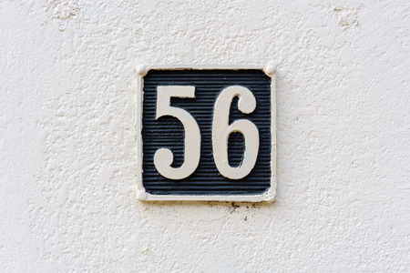 Ordinal: molded house number fifty six (56)