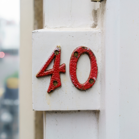 Ordinal: red colored house number forty