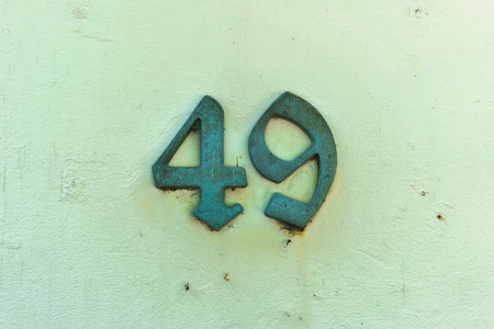 cast metal type: bronze house number forty nine