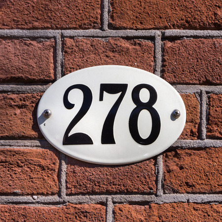Enameled house number two hundred and seventy eight (278)