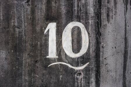 Hand painted house number ten (10) Banco de Imagens