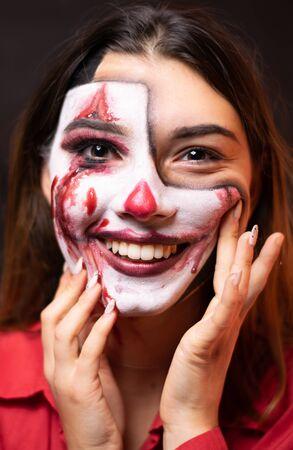 Portrait of a smiling clown lady