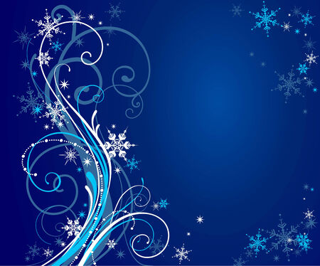 themes: Abstract blue winter background with space for text