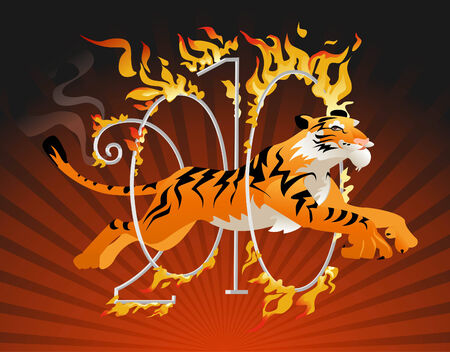 year of the tiger: Tiger symbol of the year jumping through a hoop of fire