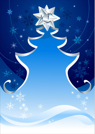Christmas tree silhouette with space for text Stock Vector - 5860480