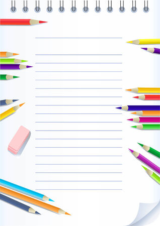 paper notebook with color pencils Vector