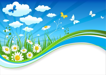 Chamomiles and clouds summer banner with space for text   Vector