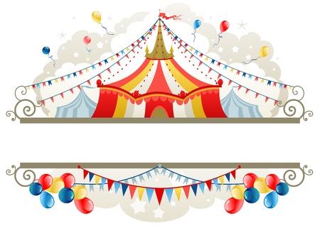 Circus tent frame met ruimte voor tekst