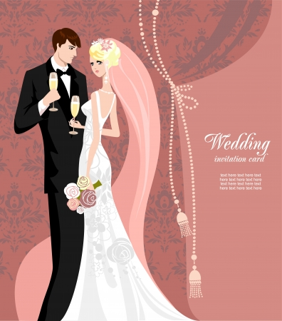 Elegant pink wedding with space for text  Vector