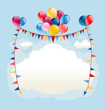 verjaardag frame: Feestelijke ballonnen achtergrond met ruimte voor tekst