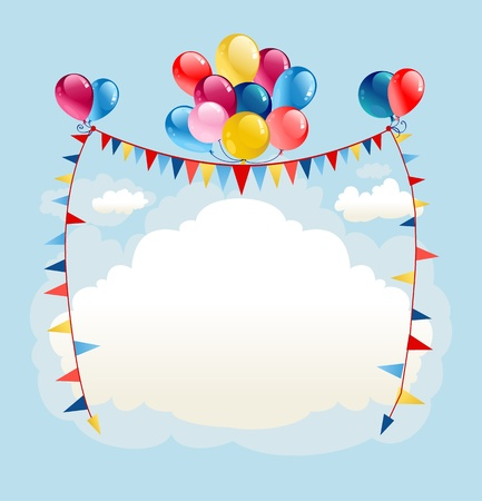 Festive balloons background with space for text   Vector