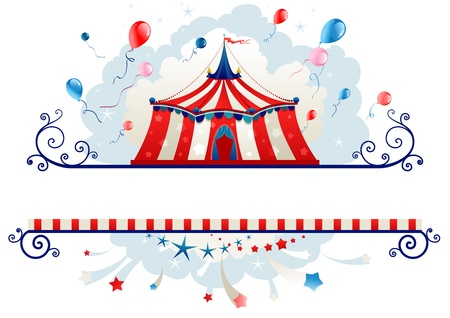 Frame with circus tent with space for text   Vector