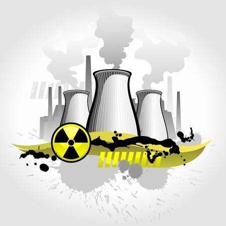 danger chimique: Contexte abstrait de centrale nucl�aire Illustration