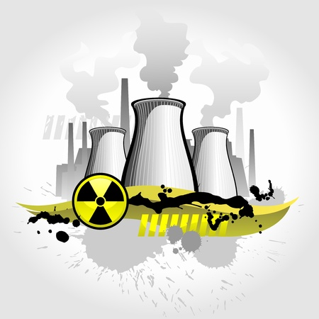 nuclear energy: Nuclear plant abstract background Illustration