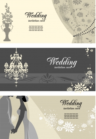 chandeliers:  Wedding cards with space for text Illustration