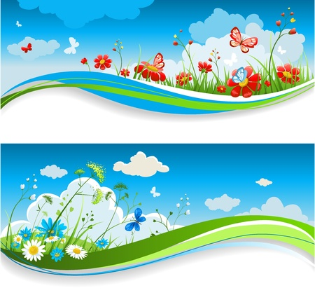 Summer positive banners Vector