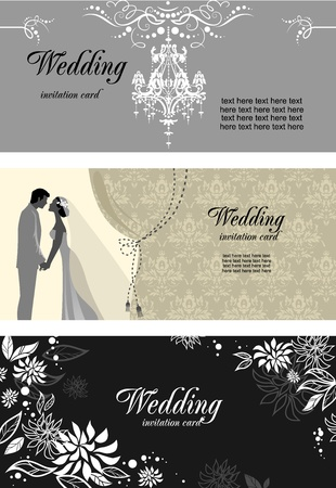 posh: Three wedding cards  with space for text