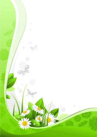 llanura: Diseño floral de verano con espacio para texto