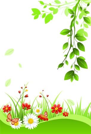 zomertuin: Zomer achtergrond met ruimte voor tekst Stock Illustratie