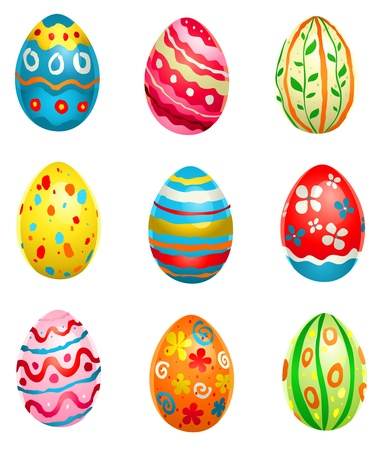 floral objects: Painted eggs Illustration