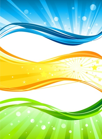 green and yellow: Abstract colour  banners Illustration