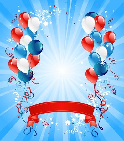 julio: Globos azules, rojos y blancos