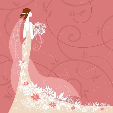 ウェディングドレス: ピンクの背景の花嫁  イラスト・ベクター素材